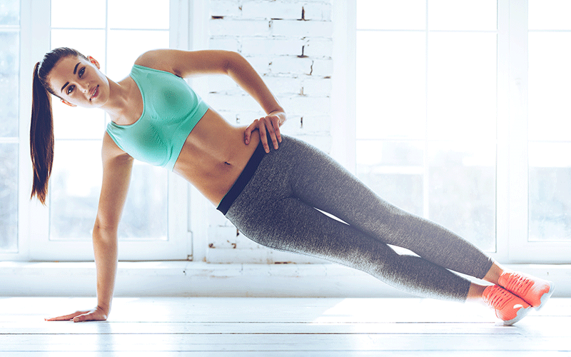 Oblique exercises at home side plank