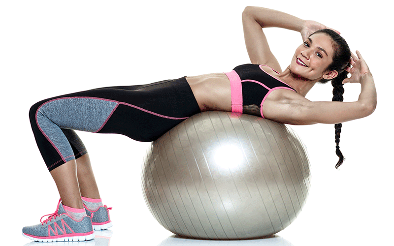 stability ab ball exercises at home