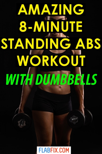 Use this standing dumbbell workout to tone your ab muscles #standing #dumbbell #workout #abs #flabfix