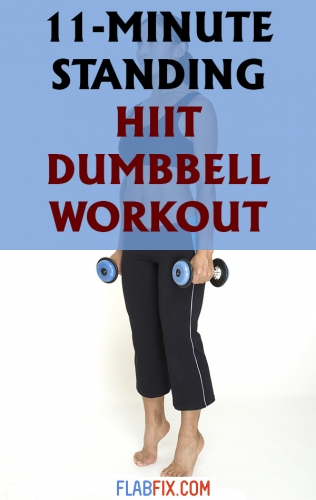 This standing HIIT dumbbell workout will tone your muscles and burn fat in just 11 minutes #hiit #dumbbell #workout #flabfix