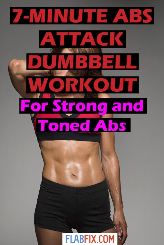 Use this abs attack dumbbell workout to build strong and toned abs at home #dumbbell #abs #workout #flabfix