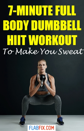 This 7-minute full body dumbbell HIIT workout will make you sweat buckets #HIIT #dumbbell #workout #flabfix