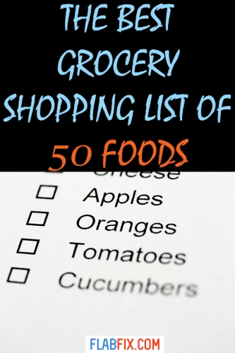 If you want to improve your eating habits, use this grocery shopping list with 50 foods #grocery #shopping #list #foods #flabfix